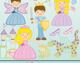 Once Upon a Fairy Tale Cute Digital Clipart for Card Design, Scrapbooking, and Web Design