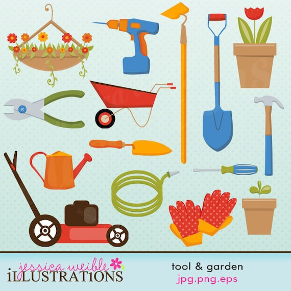 Tool and garden cute digital clipart for card design for Gardening tools clipart
