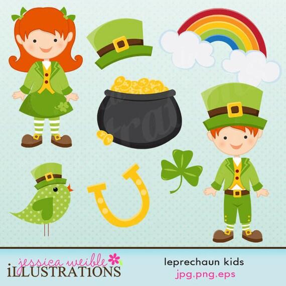 Leprechaun Kids Cute Digital Clipart by JWIllustrations on ...
