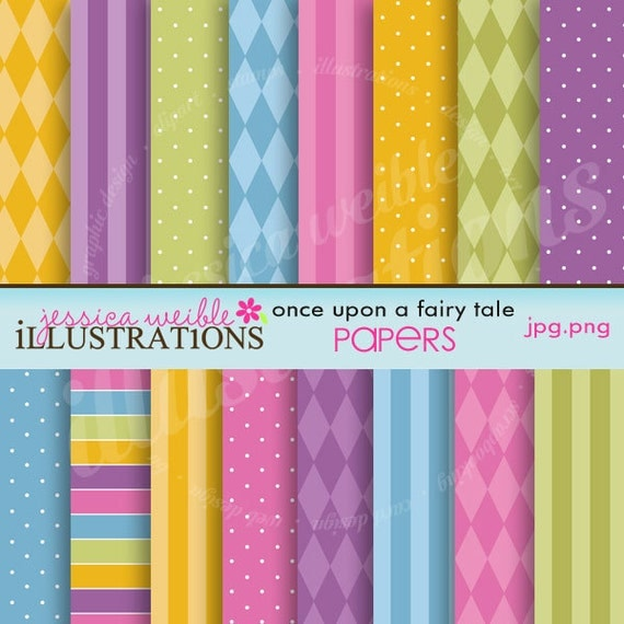 Once Upon a Fairy Tale Cute Digital Backgrounds for Card Design, Scrapbooking, and Web Design