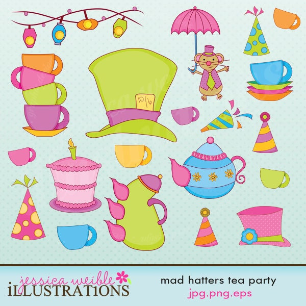 Mad Hatter's Tea Party Cute Digital Clipart by JWIllustrations