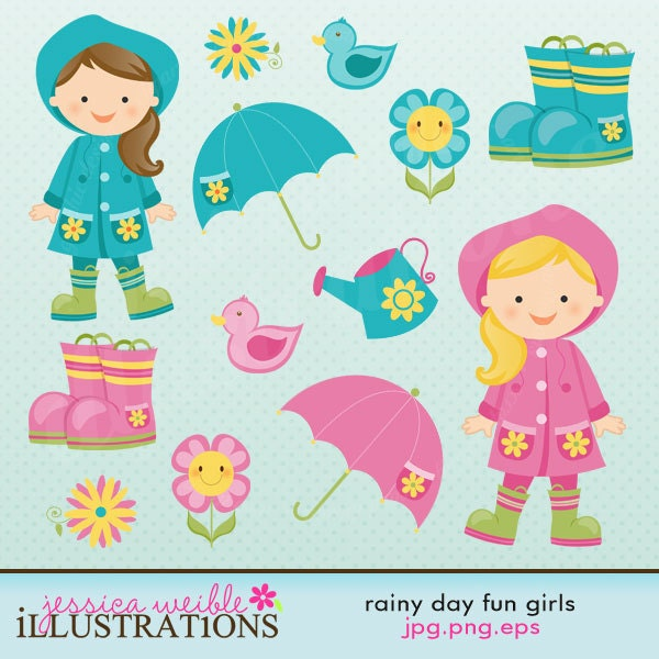 Funny Rainy Day: Rainy Day Fun Cute Digital Clipart For Card By JWIllustrations