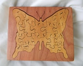 Wood Butterfly Jigsaw Puzzle Box