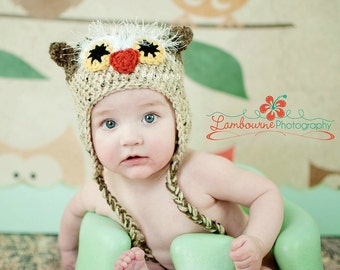 Furry Owl Crochet Animal Hat