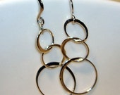 Three circle link elegance french earwire sterling silver earrings