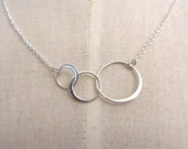 Linked circle sterling silver  necklace - silver chain 16inch