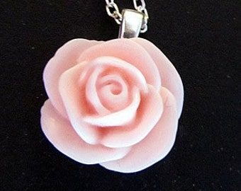 Coral rose pendant necklace