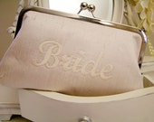 ivory embroidered BRIDE clutch bag