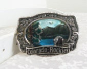 Vintage Colorado Rockies Scenic View Belt Buckle and White Belt