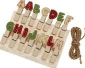 Alphabet Wooden Pegs 14 EA (A - M)