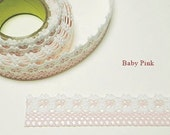 Flower Lace Fabric Deco Tape 1 inch (adhesive) - Baby Pink