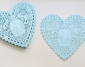 Lovely Cupid Heart Paper Doilies 5.7 inch - BLUE(30 sheets)