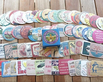Vintage Chic Coster Label Stickers / Vol. 2 - 70 sheets (2.2 x 2.2in)