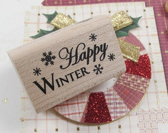Happy Winter Snow Stamp (1.6 x 1in)