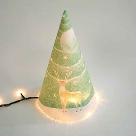 Merry Christmas Triangular Tree and Full Moon Card (SMALL)