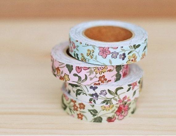 Cotton Fabric Wild Flower Deco Tape 0.6 inch (adhesive)