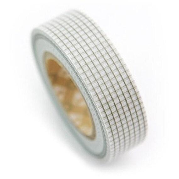 Khaki Check Pattern Masking Tape 0.6 inch (adhesive)