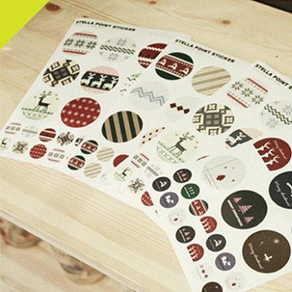 Cross-Stitch style Circle Point Sticker set (3 sheets)