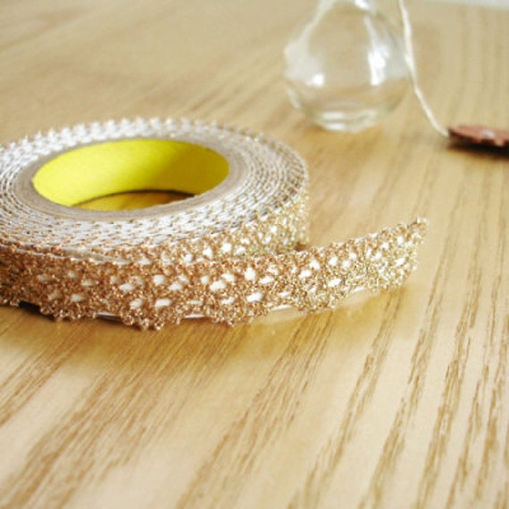 Romantic Lace Fabric Deco Tape - GOLD 0.5 inch (adhesive)