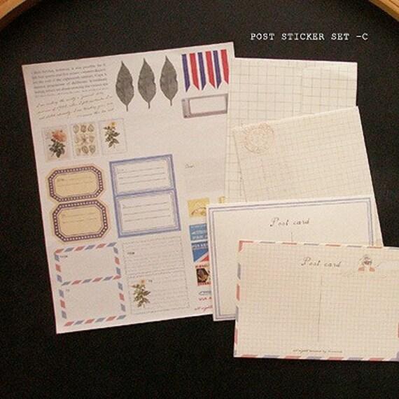Post Vintage Sticker and Envelope Set C (3 sticker sheets, 2 envelopes)