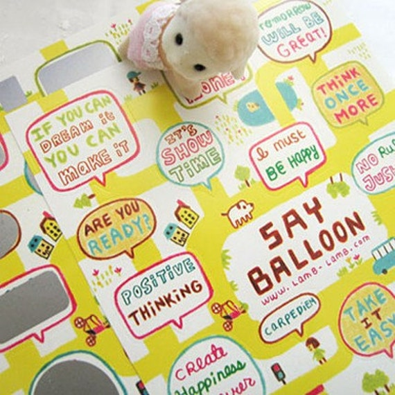 Say Balloon Stickers - Map of Yellow Street (2 sheets)