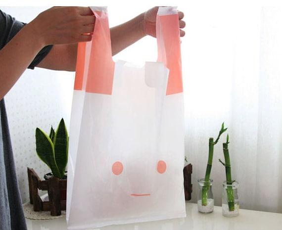 Pink-White Rabbit Plastic Bag set (15 bags)