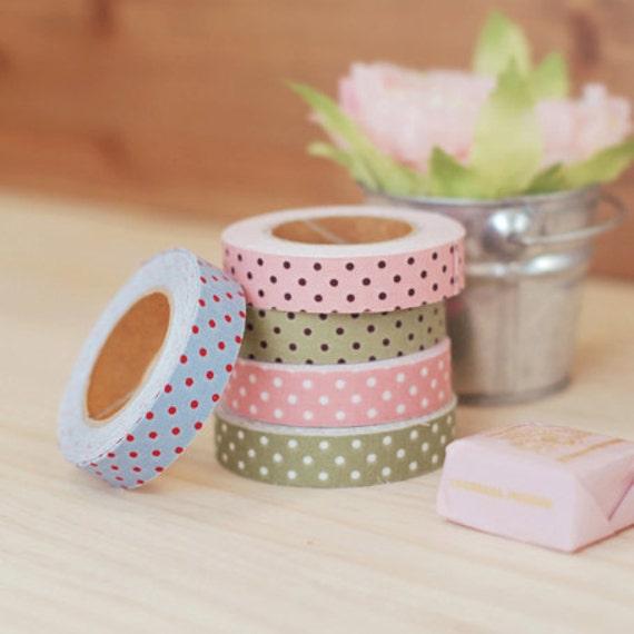 Polka Dot pattern Fabric Deco Tape 0.6 inch (adhesive)