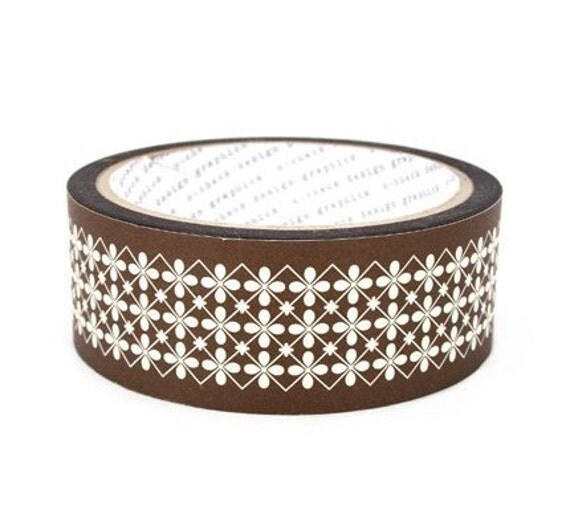 Brown Flower Pattern Deco Tape 1.4 inch (adhesive)