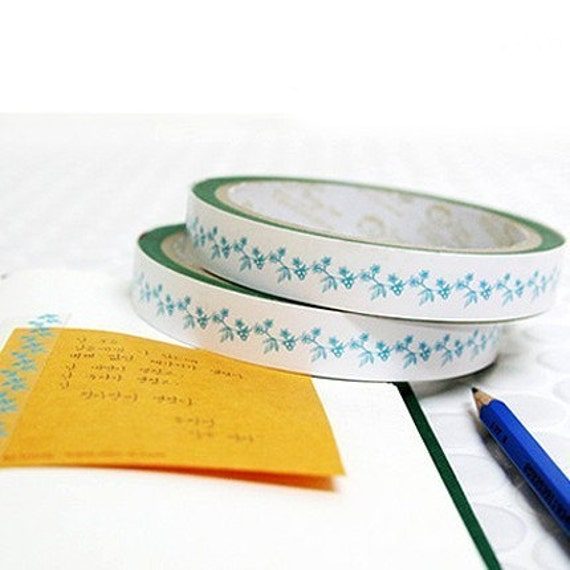 Blue Flower Pattern Design Tape 0.6 inch (adhesive)