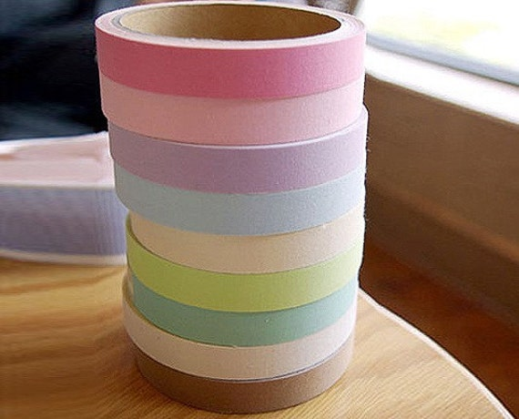 Pastel Cotton Fabric Deco Tape 0.6 inch (adhesive)