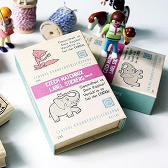 Cute Czech Label Stickers Match Box (134 sheets)