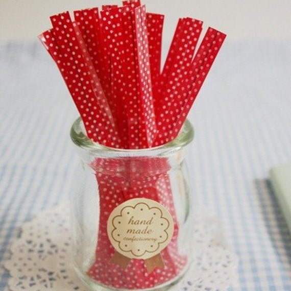 Red Polka Dot pvc Tie for Gift Wrapping (50 pcs)