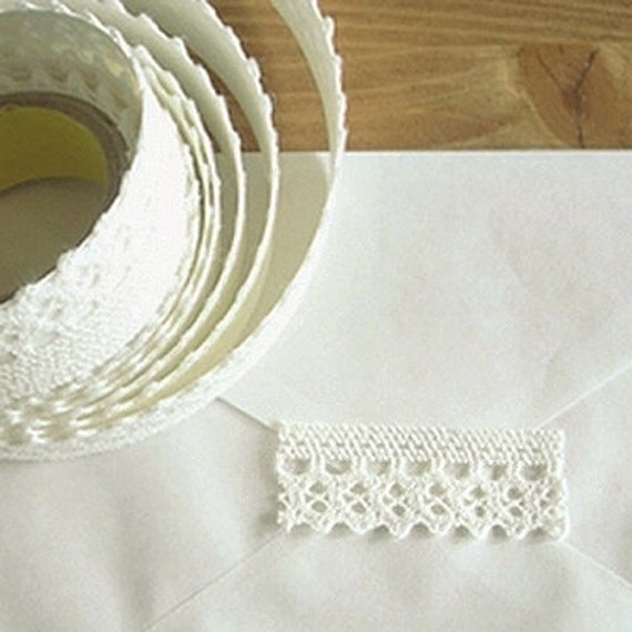 Natural Lace Fabric Decor Tape 08. White (adhesive)