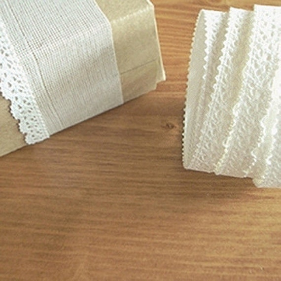 Natural Lace Fabric Decor Tape 01. White (adhesive)