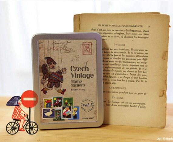 Vintage style Stamp Stickers Tin Case set - CZECH vol. 1 (320 stickers)