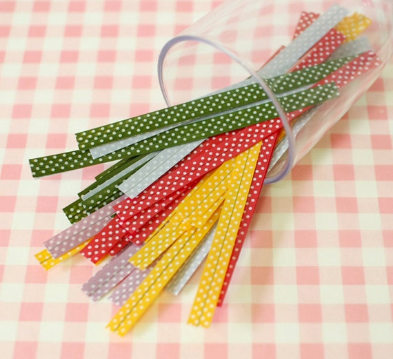 5 color SET - Polka Dot pvc Tie for Gift Wrapping (250 pcs)