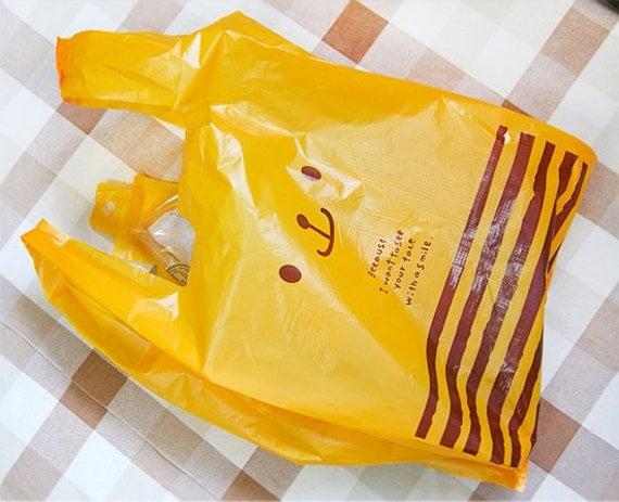 Yellow Cute Bear Plastic Bag set M (15 bags)