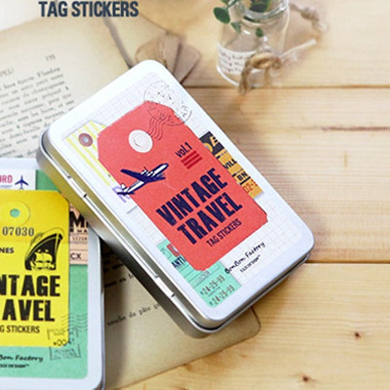 Vintage Travel Tag Label Stickers Tin Case set - Vol. 1 (47 tags)
