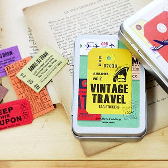 Vintage Travel Tag Label Stickers Tin Case set - Vol. 2 (47 tags)