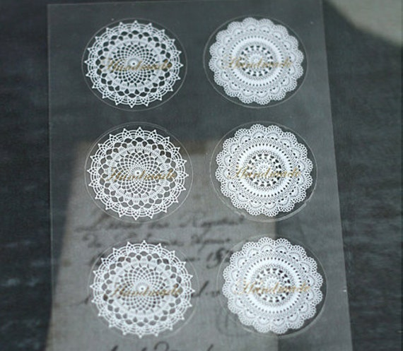 Lace Doily Sticker for Hand-Made Products  (16 EA)