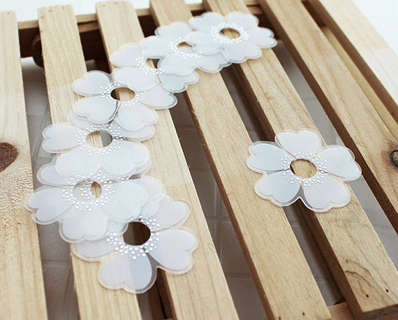 White Flower Clear Ties (20 pcs)