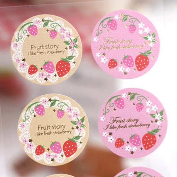 Strawberry pattern Circle Stickers (16 EA)