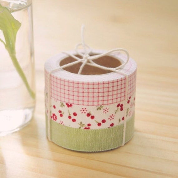 3 SET - Afresh Pink Green Fabric Deco Tapes 0.6 inch (adhesive)