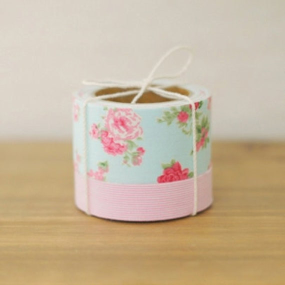2 SET - Pure Pink Blue Fabric Deco Tapes (adhesive)