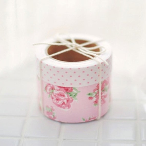 2 SET - Floral Pink Fabric Deco Tapes (adhesive)
