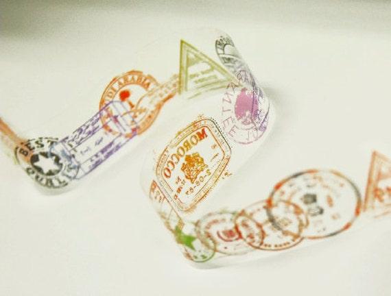 World Stamp Pattern Transparent Decor Tape 1.6 inch (adhesive)