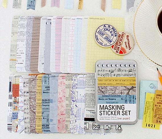 Various Paper Pattern Masking Tape Stickers (27 sheets, tin case)