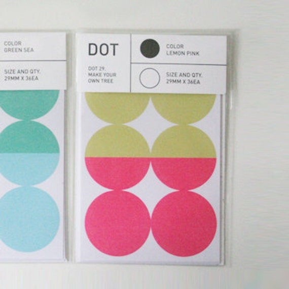 Colourful Point Circle Index Stickers - Lemon / Pink (6 sheets)
