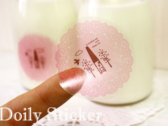 Pink Lace Doily Packing Stickers (40 pcs)