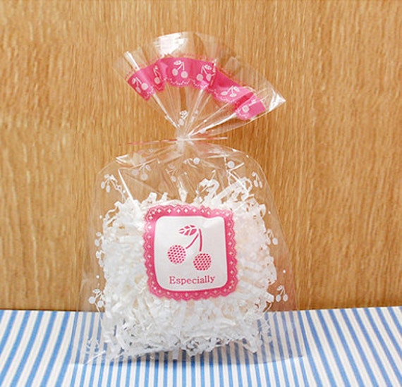 Pink Cherry Cellophane Bags (20 bags)
